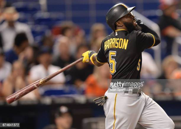 Pittsburgh Pirates second baseman Josh Harrison swings for a fly ball during the first inning in a game between the Miami Marlins and the Pittsburgh...