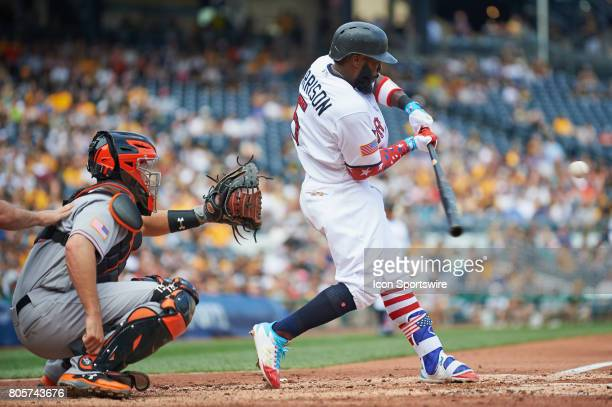 Pittsburgh Pirates second baseman Josh Harrison swings the bat during an MLB game between the Pittsburgh Pirates and the San Francisco Giants on July...
