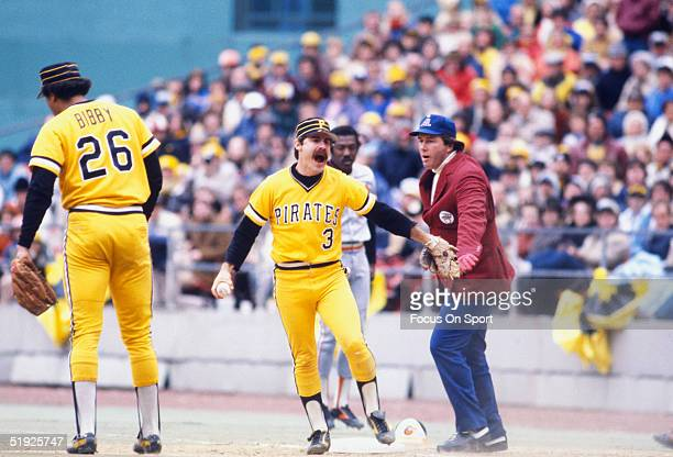 Pittsburgh Pirates second baseman Phil Garner yells after a close call during the World Series against the Baltimore Orioles at Three Rivers Stadium...