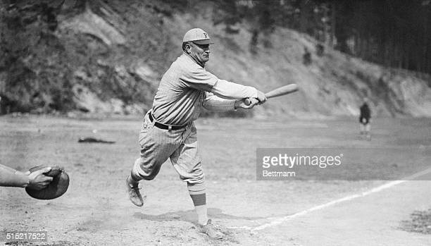 Pittsburgh Pirates' shortstop Honus Wagner in batting action, circa 1910.