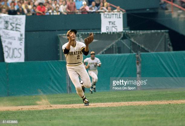 Pittsburgh Pirates' shortstop Jackie Hernandez prepares to catch a ball during the 1971 World Series at Memorial Stadium in Baltimore Maryland