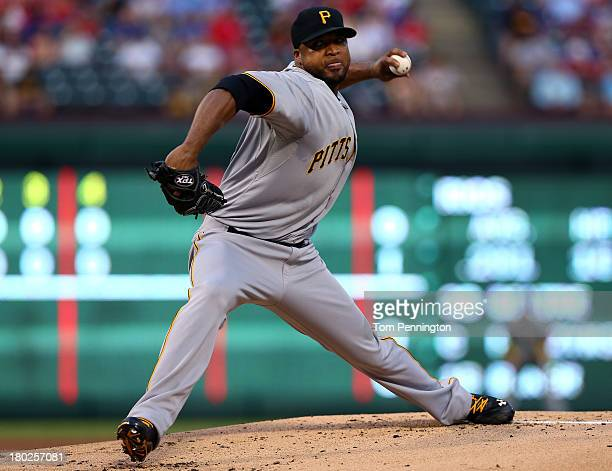Pittsburgh Pirates starting pitcher Francisco Liriano pitches against the Texas Rangers in the bottom of the first inning at Rangers Ballpark in...