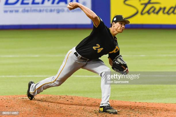 Pittsburgh Pirates starting pitcher Tyler Glasnow throwing the ball during the Pittsburgh Pirates versus the Toronto Blue Jays Spring Training game...
