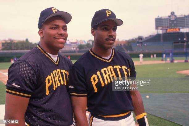 Pittsburgh Pirates teammates Bobby Bonilla and Barry Bonds pose during batting practice before the All Star Game at Wrigley Field on July 10, 1990 in...
