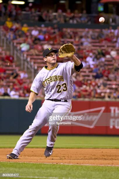 Pittsburgh Pirates third baseman David Freese fields the ball against the St Louis Cardinals during a MLB baseball game between the St Louis...