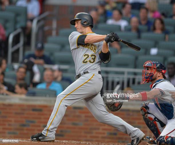 Pittsburgh Pirates third baseman David Freese flies out during a game between the Atlanta Braves and Pittsburgh Pirates on May 22 2017 at SunTrust...