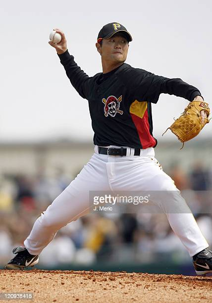 Pittsburgh pitcher Masumi Kuwata makes a pitch in Sunday's action against Cincinnati at McKechnie Field in Bradenton Florida on March 4 2007