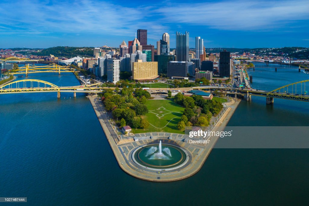 Pittsburgh Skyline Aerial With Fountain, Two Rivers And Bridges : Stock Photo