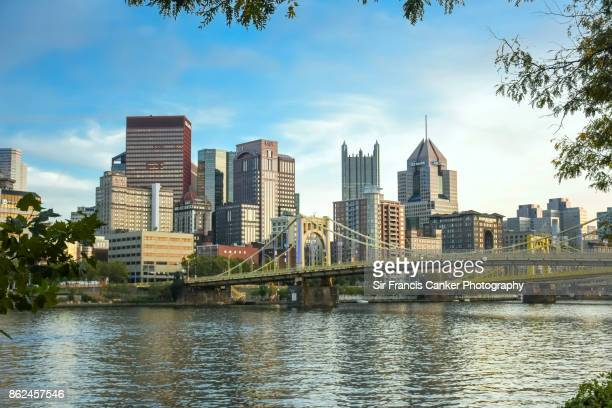 Pittsburgh skyline close up with 'Rachel Carson bridge'