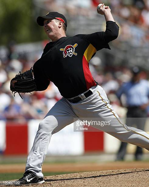 Pittsburgh starting pitcher Tom Gorzelanny makes a pitch in Sunday's game against Cincinnati at Ed Smith Stadium in Sarasota Florida on March 11 2007