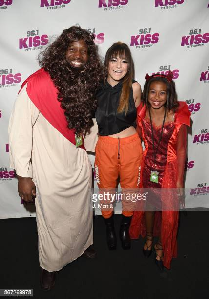 Pittsburgh Steeler Arthur Moats and Daya pose backstage during the Kiss 961 Halloween Party 2017 at Stage AE on October 27 2017 in Pittsburgh...