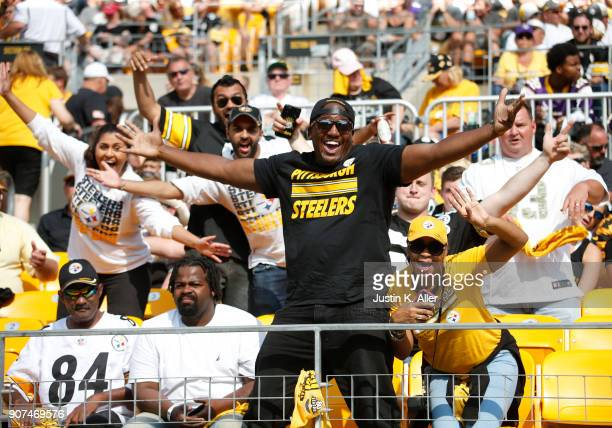 Pittsburgh Steeler fans in action against the Minnesota Vikings on September 17 2017 at Heinz Field in Pittsburgh Pennsylvania