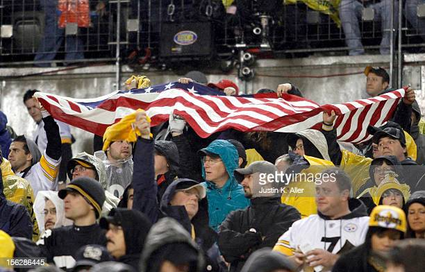 Pittsburgh Steeler fans support Veterans Day during the game between the Pittsburgh Steelers and the Kansas City Chiefs on November 12 2012 at Heinz...