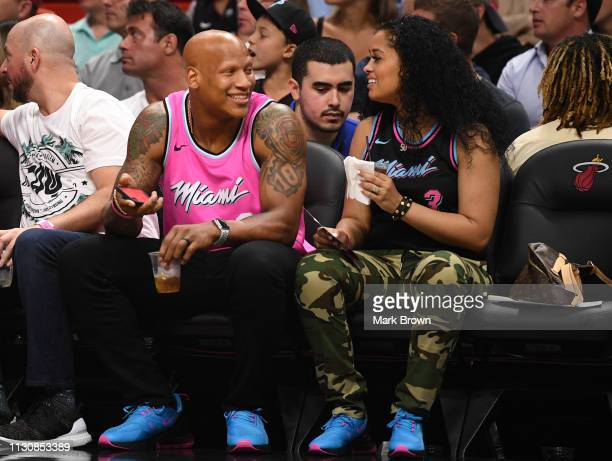 Pittsburgh Steeler Ryan Shazier and fiancé Michelle Rodriguez attend the game between the Miami Heat and the Milwaukee Bucks at American Airlines...