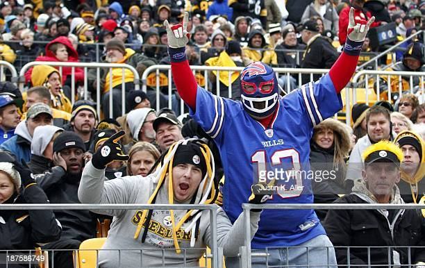 Pittsburgh Steelers and Buffalo Bills fans cheer during the game on November 10 2013 at Heinz Field in Pittsburgh Pennsylvania