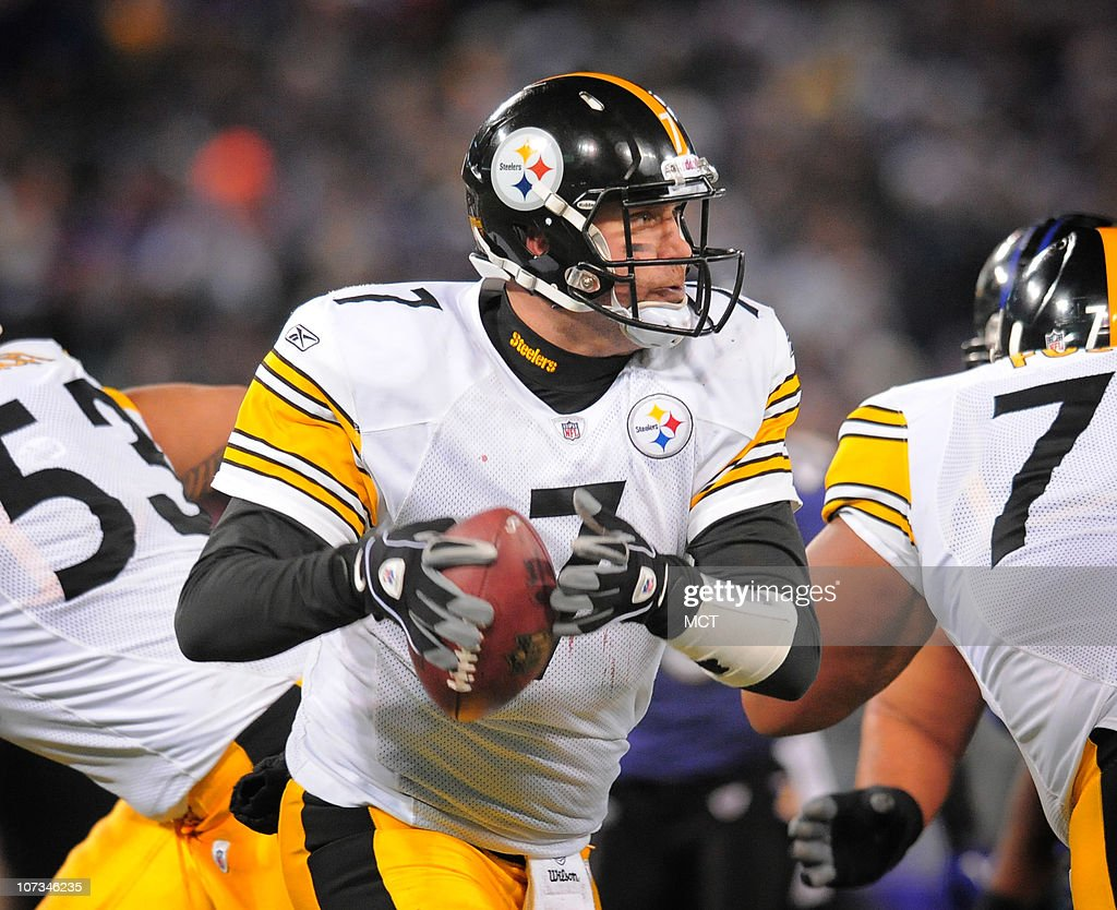 Pittsburgh Steelers' Ben Roethlisberger rolls out to pass during the second half. The Pittsburgh Steelers defeat the Baltimore Ravens 13-10 at M&T Bank Stadium in Baltimore, Maryland, on Sunday, December 5, 2010.