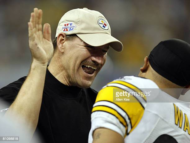 Pittsburgh Steelers coach Bill Cower and Hines Ward after the Steelers beat the Seattle Seahawks 2110 in the NFL's Super Bowl XL in Detroit Michigan...