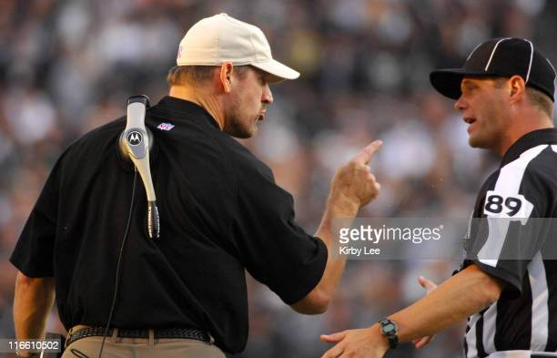 Pittsburgh Steelers coach Bill Cowher argues with field judge referee Craig Wrolstad in the fourth quarter of 2013 loss to the Oakland Raiders at...