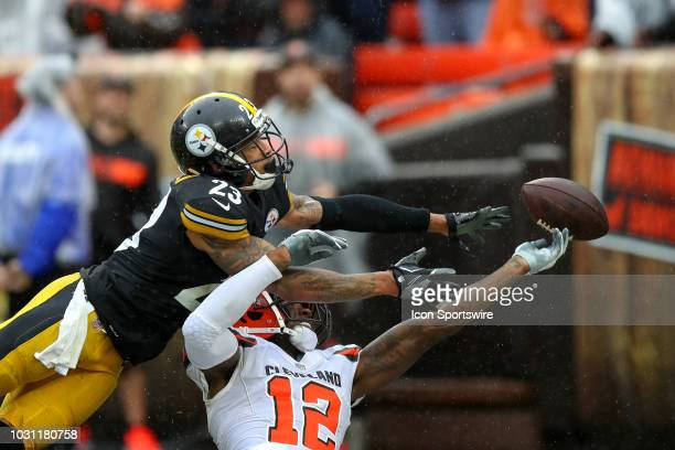 Pittsburgh Steelers cornerback Joe Haden breaks up a pass intended for Cleveland Browns wide receiver Josh Gordon during the third quarter of the...