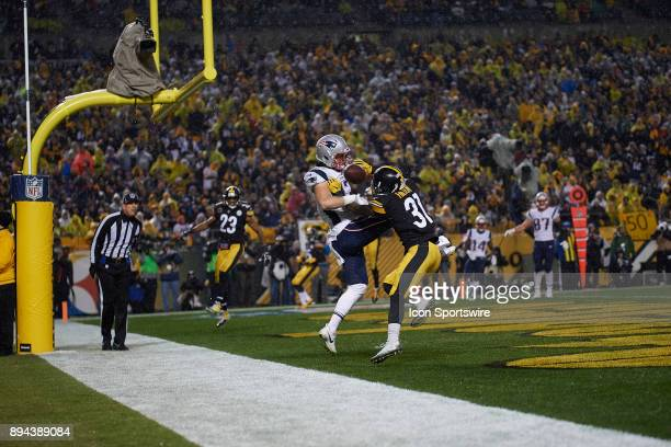 Pittsburgh Steelers defensive back Mike Hilton breaks up a play intended for New England Patriots tight end Jacob Hollister during a week 15 game...