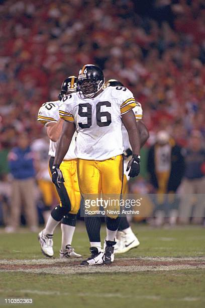 Pittsburgh Steelers defensive end Brentson Buckner during a game against the Kansas City Chiefs on October 7 1996 in Kansas City The Steelers won the...