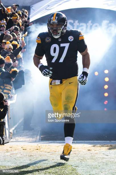 Pittsburgh Steelers defensive end Cameron Heyward runs onto the field during the AFC Divisional Playoff game between the Jacksonville Jaguars and the...
