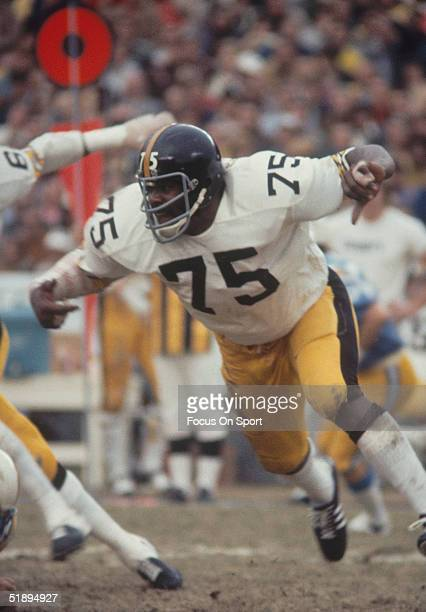 Pittsburgh Steelers defensive tackle Mean Joe Greene runs to defend during a game Joe Greene was elected to the hall of fame in 1987