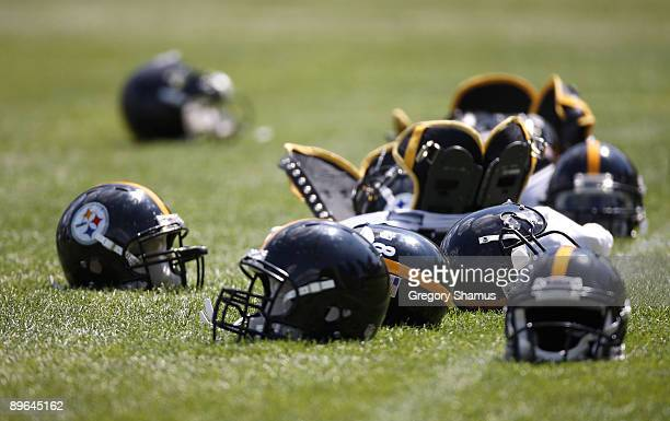 Pittsburgh Steelers equipment lies on the field during training camp at St. Vincent College on August 6, 2009 in Latrobe, Pennsylvania.