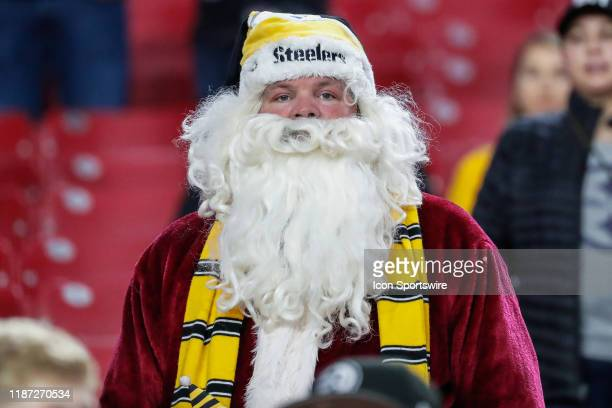 Pittsburgh Steelers fan dresses as Santa Clause before the NFL football game between the Pittsburgh Steelers and the Arizona Cardinals on December 8...