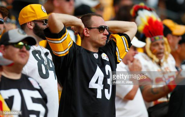 Pittsburgh Steelers fan reacts in the fourth quarter during the game against the Kansas City Chiefs at Heinz Field on September 16 2018 in Pittsburgh...
