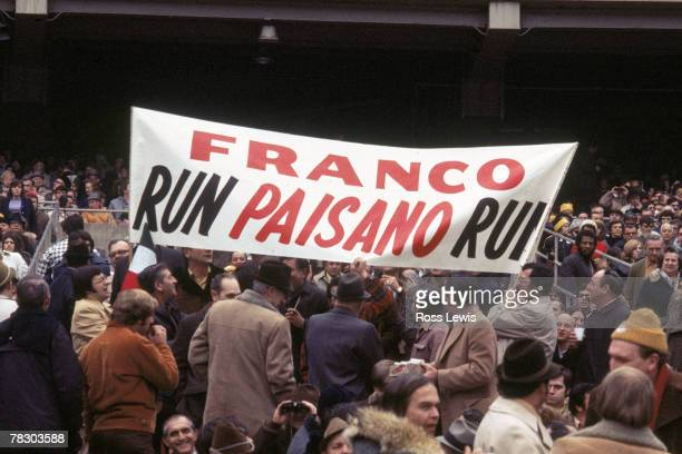 Pittsburgh Steelers fans hold up a sign encouraging running back Franco Harris during a 13-7 win over the Oakland Raiders in the 1972 AFC Divisional...