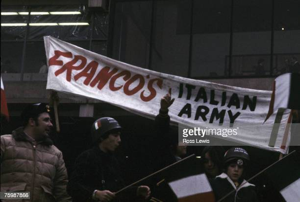 Pittsburgh Steelers fans in the stands display a banner for their fan club for Steelers Hall of Fame running back Franco Harris known as Franco's...