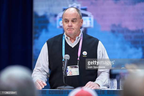Pittsburgh Steelers general manager Kevin Colbert speaks to the media during the NFL Scouting Combine on February 27 2019 at the Indiana Convention...