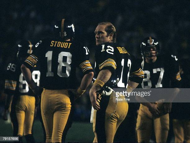 Pittsburgh Steelers Hall of Fame quarterback Terry Bradshaw stands with backup Cliff Stoudt during Super Bowl XIII, a 35-31 victory over the Dallas...