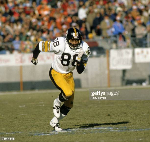 Pittsburgh Steelers Hall of Fame wide receiver Lynn Swann runs his route during a 2117 victory over the Denver Broncos on December 16 at Mile High...