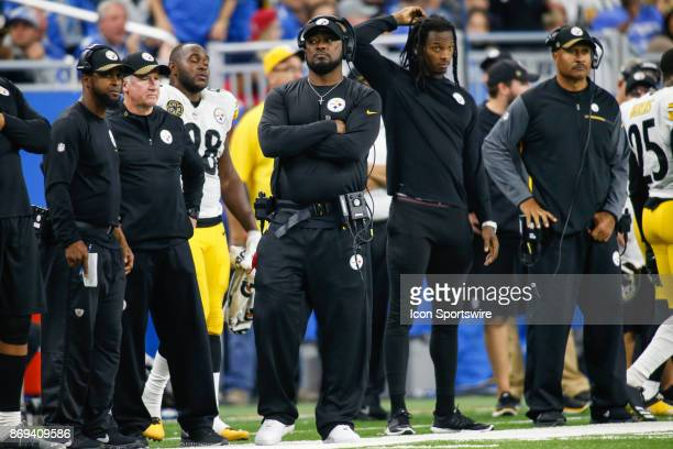 Pittsburgh Steelers head coach Mike Tomlin looks on during game action between the Pittsburgh Steelers and the Detroit Lions on October 29 2017 at...