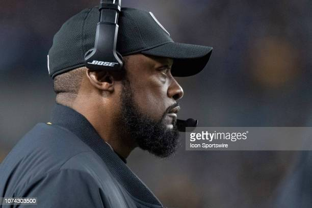 Pittsburgh Steelers head coach Mike Tomlin looks on to the field during the game between the Pittsburgh Steelers and the New England Patriots at...