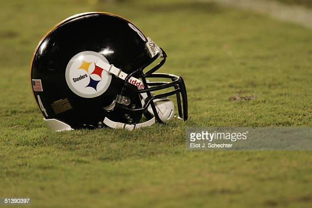 Pittsburgh Steelers helmet is on the field during the game against the Miami Dolphins at Pro Player Stadium on September 26, 2004 in Miami, Florida....