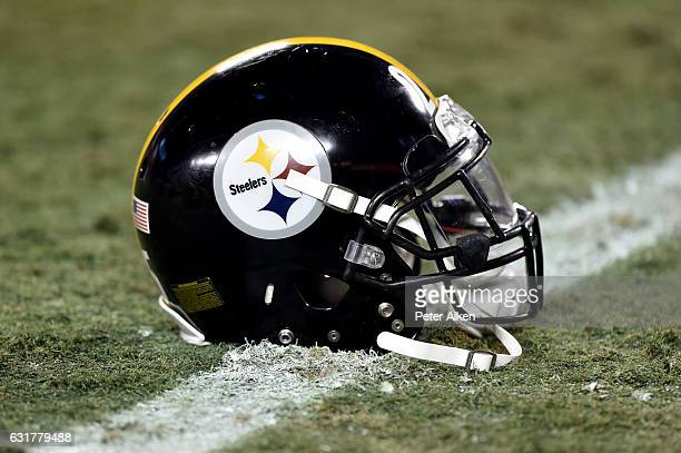 Pittsburgh Steelers helmet sits on the field during the game against the Kansas City Chiefs in the AFC Divisional Playoff game at Arrowhead Stadium...