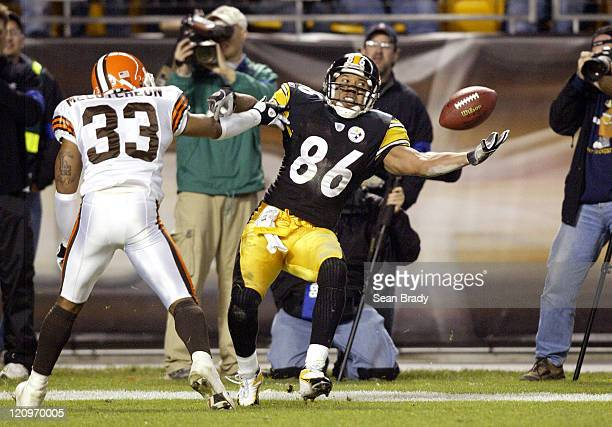 Pittsburgh Steelers Hines Ward loses control of a potential touchdown pass during action against the Cleveland Browns at Heinz Field in Pittsburgh...