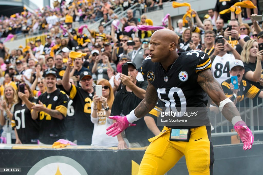Pittsburgh Steelers inside linebacker Ryan Shazier (50) takes the field during the game between the Jacksonville Jaguars and the Pittsburgh Steelers on October 8, 2017 at Heinz Field in Pittsburgh, Pa.