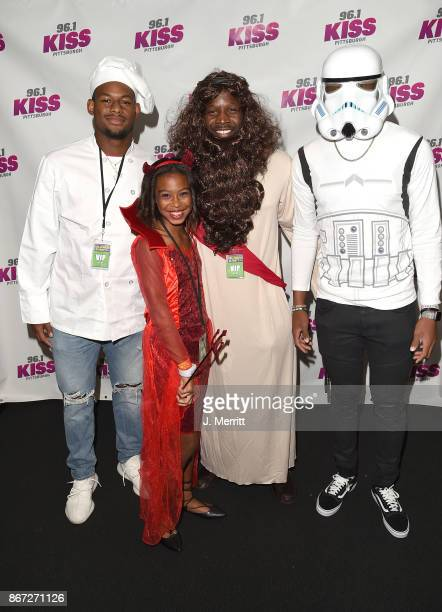 Pittsburgh Steelers JuJu SmithSchuster Arthur Moats and Josh Dobbs pose backstage during the Kiss 961 Halloween Party 2017 at Stage AE on October 27...