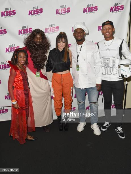 Pittsburgh Steelers JuJu SmithSchuster Josh Dobbs Arthur Moats and Daya pose backstage during the Kiss 961 Halloween Party 2017 at Stage AE on...