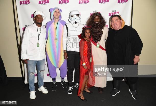 Pittsburgh Steelers JuJu SmithSchuster Mikey Josh Dobbs Arthur Moats and Big Bob pose backstage during the Kiss 961 Halloween Party 2017 at Stage AE...