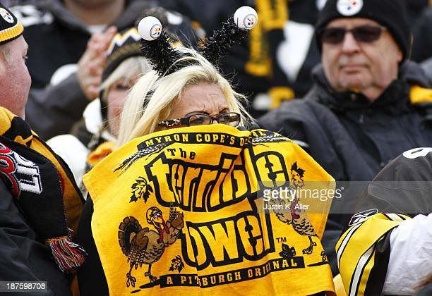 Pittsburgh Steelers keeps warm during the game against the Buffalo Bills on November 10 2013 at Heinz Field in Pittsburgh Pennsylvania