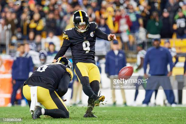 Pittsburgh Steelers kicker Chris Boswell kicks the game winning field goal in overtime during the NFL football game between the Seattle Seahawks and...