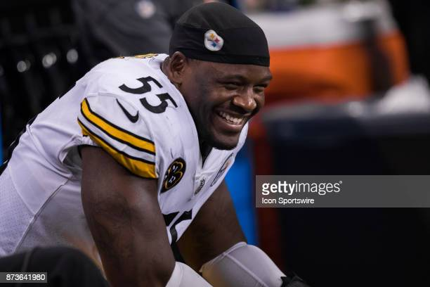 Pittsburgh Steelers linebacker Arthur Moats smiles on the sidelines during the NFL game between the Pittsburgh Steelers and Indianapolis Colts on...
