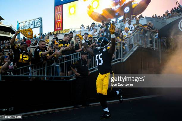 Pittsburgh Steelers linebacker Devin Bush is announced during the NFL football game between the Tampa Bay Bucaneers and the Pittsburgh Steelers on...