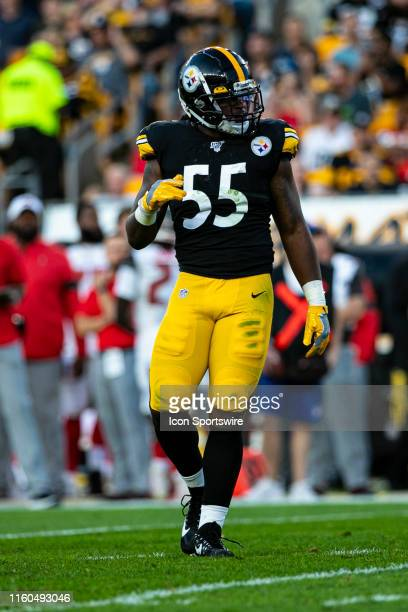 Pittsburgh Steelers linebacker Devin Bush looks on during the NFL football game between the Tampa Bay Bucaneers and the Pittsburgh Steelers on August...