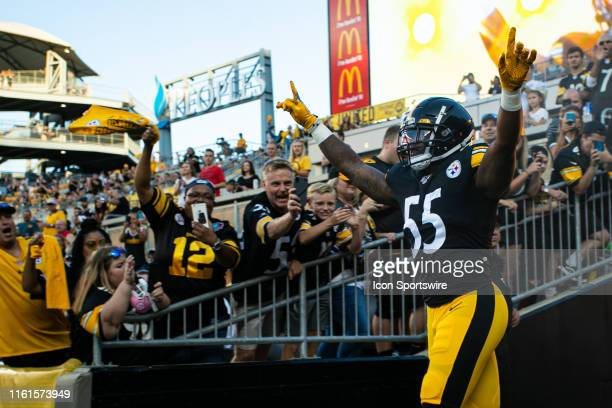 Pittsburgh Steelers linebacker Devin Bush looks on during the NFL football game between the Tampa Bay Buccaneers and the Pittsburgh Steelers on...